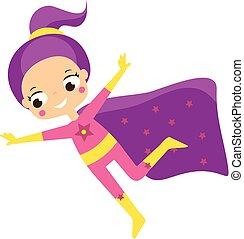 superhero., fantasie, kostüm, komiker, m�dchen, kind