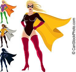 Superhero - Female - Female superhero over white background....