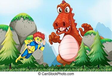 Superhero fighting dragon in the field