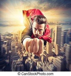 Superhero flies faster - Businessman superhero flies faster...
