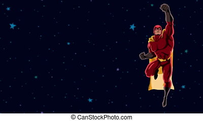Superhero Flying 2 Space - Flying superhero over space...