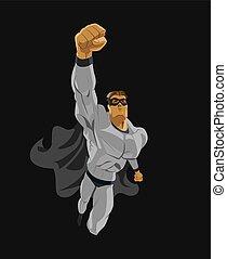 superhero, flying., adoperarsi, height.