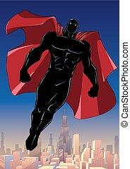 Superhero Flying City Vertical Silhouette