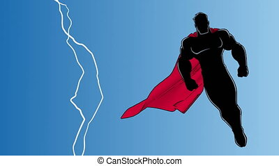 Seamless looping animation of powerful superhero looking down while soaring in the sky during a thunderstorm.