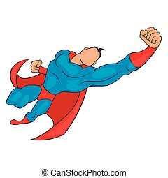 Superhero flying forward icon, cartoon style