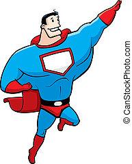 Superhero Flying - A happy cartoon superhero flying and...