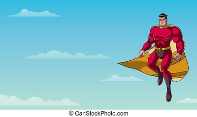 Superhero Flying in Sky - Animation of happy cartoon...
