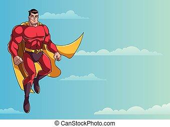 Superhero Flying in Sky