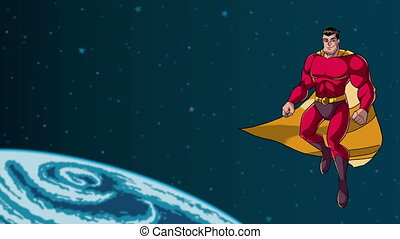 Superhero Flying in Space - Animation of happy cartoon...