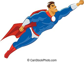 Superhero flying. Isolated. Vector illustration. Symbol of...