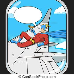 Superhero flying on airplane wing comic vector