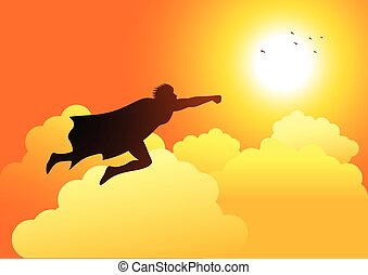 Superhero Flying On Clouds - Cartoon silhouette of a...