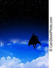 Superhero flying on clouds