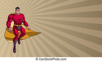 Superhero Flying on Ray Light Background - Animation of...