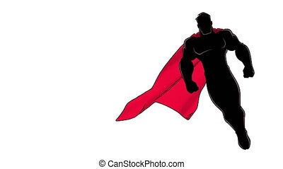 Seamless looping animation of powerful superhero looking down while soaring on white background.