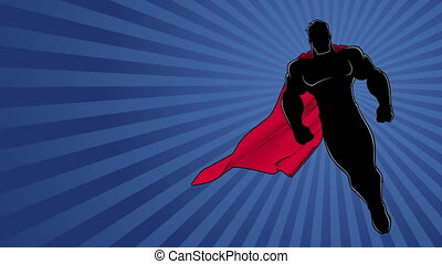 Seamless looping animation of powerful superhero looking down while soaring over abstract background.