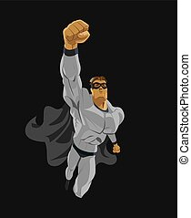 Superhero flying. Strives height. Isolated background. ...