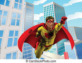 Superhero flying through city