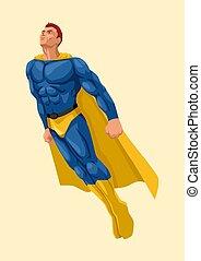Cartoon vector illustration of a superhero flying up