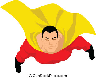Superhero flying up pose