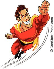 Superhero Flying With Muscly Body - superhero flying with...