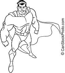 Superhero From Above Line Art - High-angle line art ...