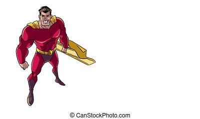 Superhero From Above - Looping animation of powerful and...
