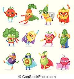 Superhero fruits vector fruity cartoon character of super...