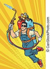 superhero, gás, cilindros, worker., profissional, soldador