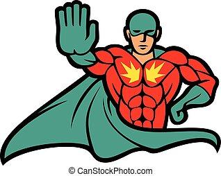 superhero gesturing stop sign