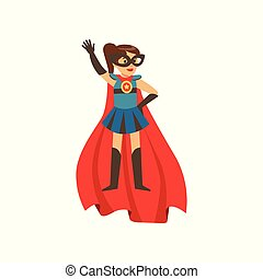 Superhero girl character dressed in blue costume with red...