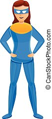 Superhero girl icon, cartoon style