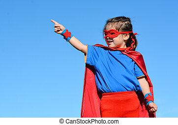 superhero, girl, -, puissance, enfant