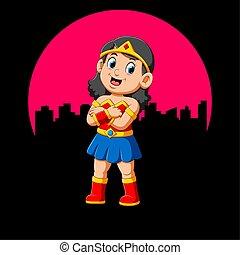Superhero girl with smile