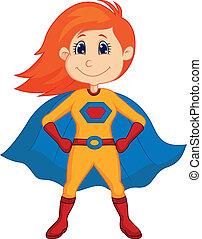 superhero, gosse, dessin animé