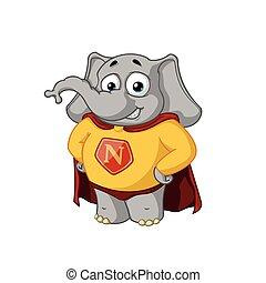 superhero, grande, character., isolato, collezione, cloak., vettore, elephants., elephant., cartone animato, rosso