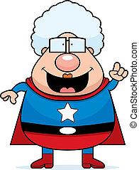 Superhero Grandma Idea - A happy cartoon superhero grandma...