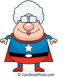 A happy cartoon superhero grandma standing and smiling.