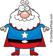 Superhero Grandpa - A happy cartoon superhero grandpa ...