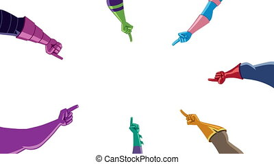 Cartoon animation with superhero hands pointing to the center of a circle, with copy space for your text or product.