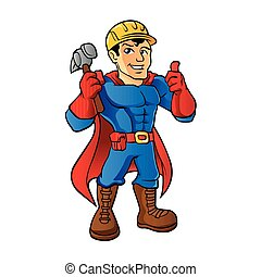 Superhero handyman guy. cartoon handyman