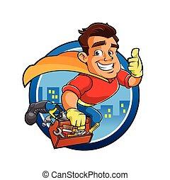 Superhero holding tool box