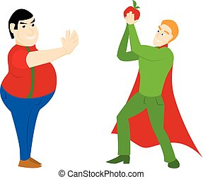 Superhero healthy eating athletic with an apple and a fat man in  cartoon style