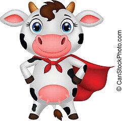 superhero, het poseren, spotprent, koe