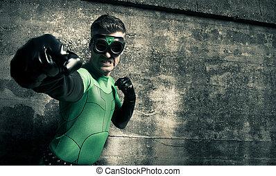 superhero, het stompen, zijn, vijand