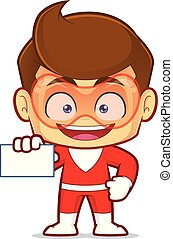 Superhero holding a blank business card