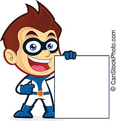 Superhero holding a blank sign - Vector clipart picture of a...
