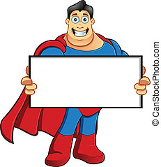 Superhero - Holding Blank Board - A cartoon character...