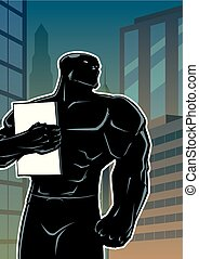 Superhero Holding Book in City Vertical Silhouette