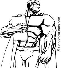 Superhero Holding Book Line Art